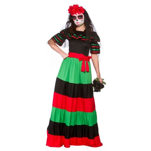 Ladies Day Of the Dead Senorita Costume for Walking Halloween Zombie Fancy Dress